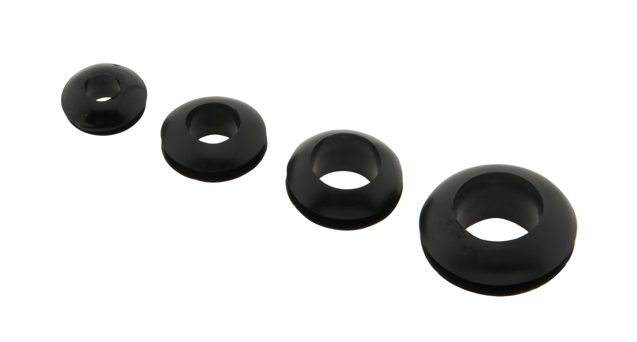 1 Stk Gummi Kabeldurchführung schwarz Montageloch 14mm Innen 12mm LIZU021014