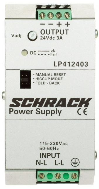 1 Stk Einphasiges Netzgerät getaktet, 230VAC/12VDC, 5A bei 50°C LP411205--