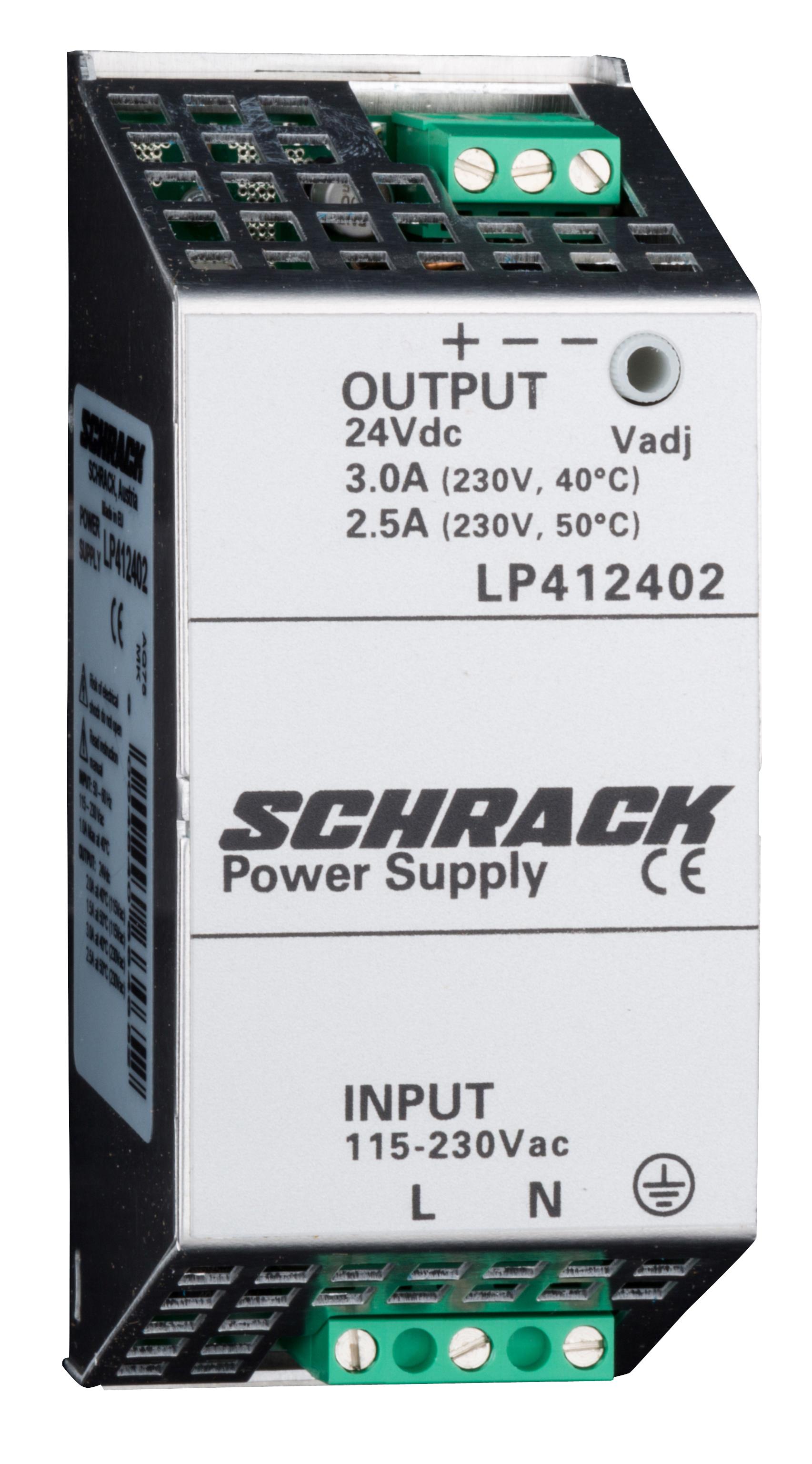 1 Stk Einphasiges Netzgerät getaktet, 230VAC/24VDC, 2,5A bei 50°C LP412402--