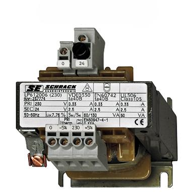 1 Stk Einphasen Steuertransformator 230/12V, 63VA, IP00 LP601006T-