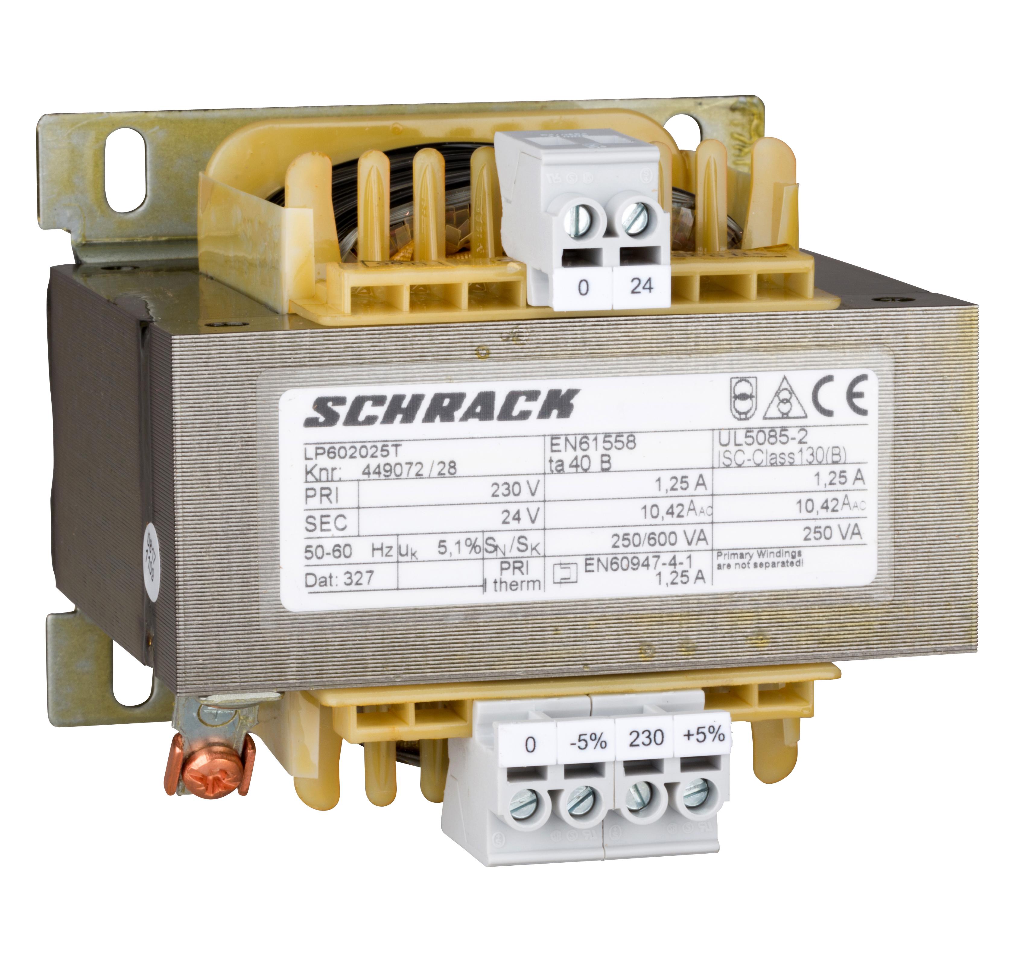 1 Stk Einphasen Steuertransformator 230/24V, 250VA, IP00 LP602025T-