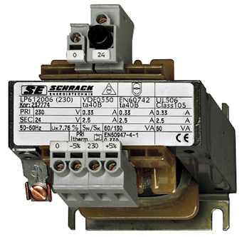1 Stk Einphasen Steuertransformator 230/24V, 30VA,IP00, Sicherung LP612003T-