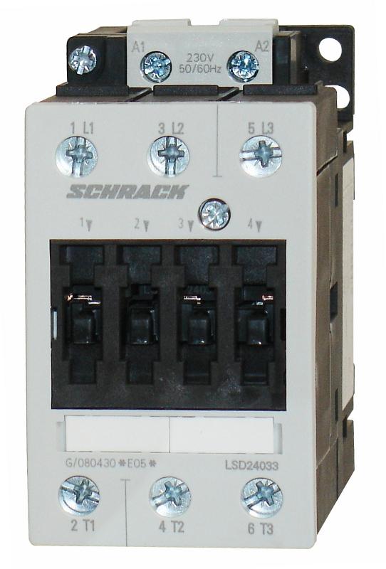 1 Stk Leistungsschütz, 18,5kW, 40A AC3, 230VAC, 2 LSD24033--