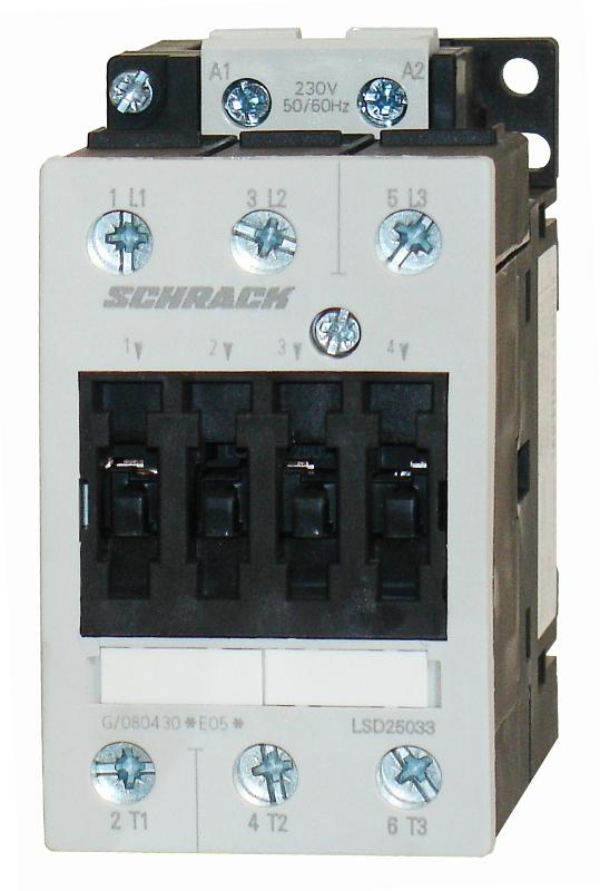 1 Stk Leistungsschütz, 22kW, 50A AC3, 230VAC, 2 LSD25033--