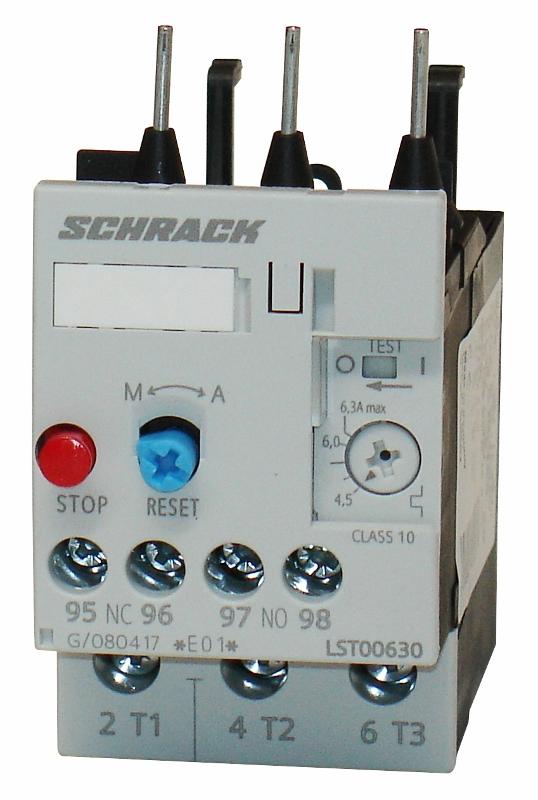 1 Stk Thermisches Überlastrelais 4,50 - 6,30A, 0 LST00630--
