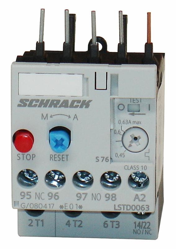 1 Stk Thermisches Überlastrelais 0,45 - 0,63A, Baugröße 00 LSTD0063--