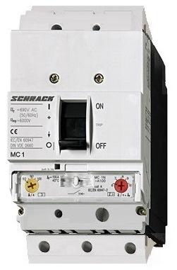 1 Stk Leistungsschalter Type A, 3-polig, 25kA, 100A, steckbar MC110131S-