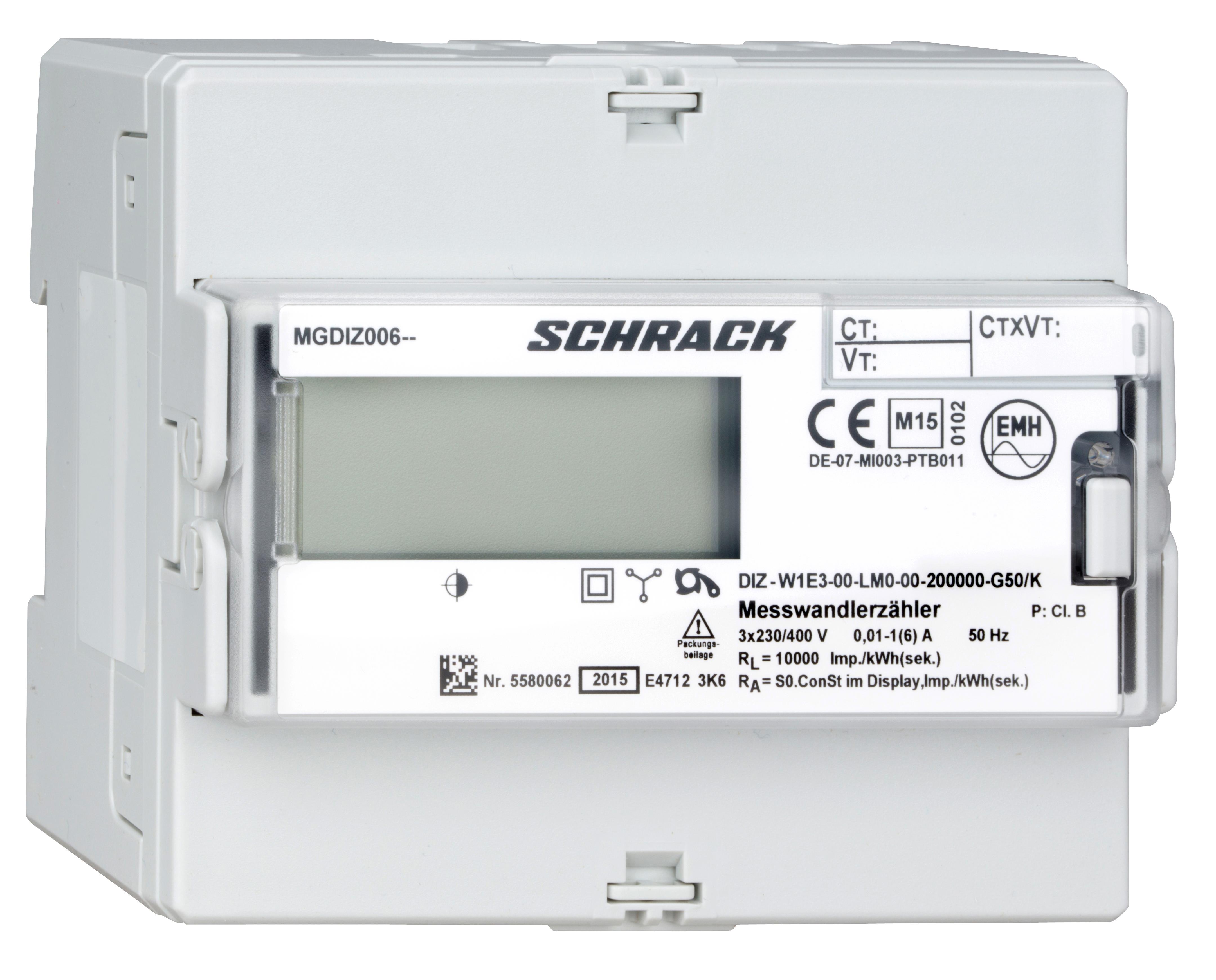 1 Stk Digitaler kWh-Zähler, 1 Tarif,Wandleranschluß 5A(6A),RE MGDIZ006--