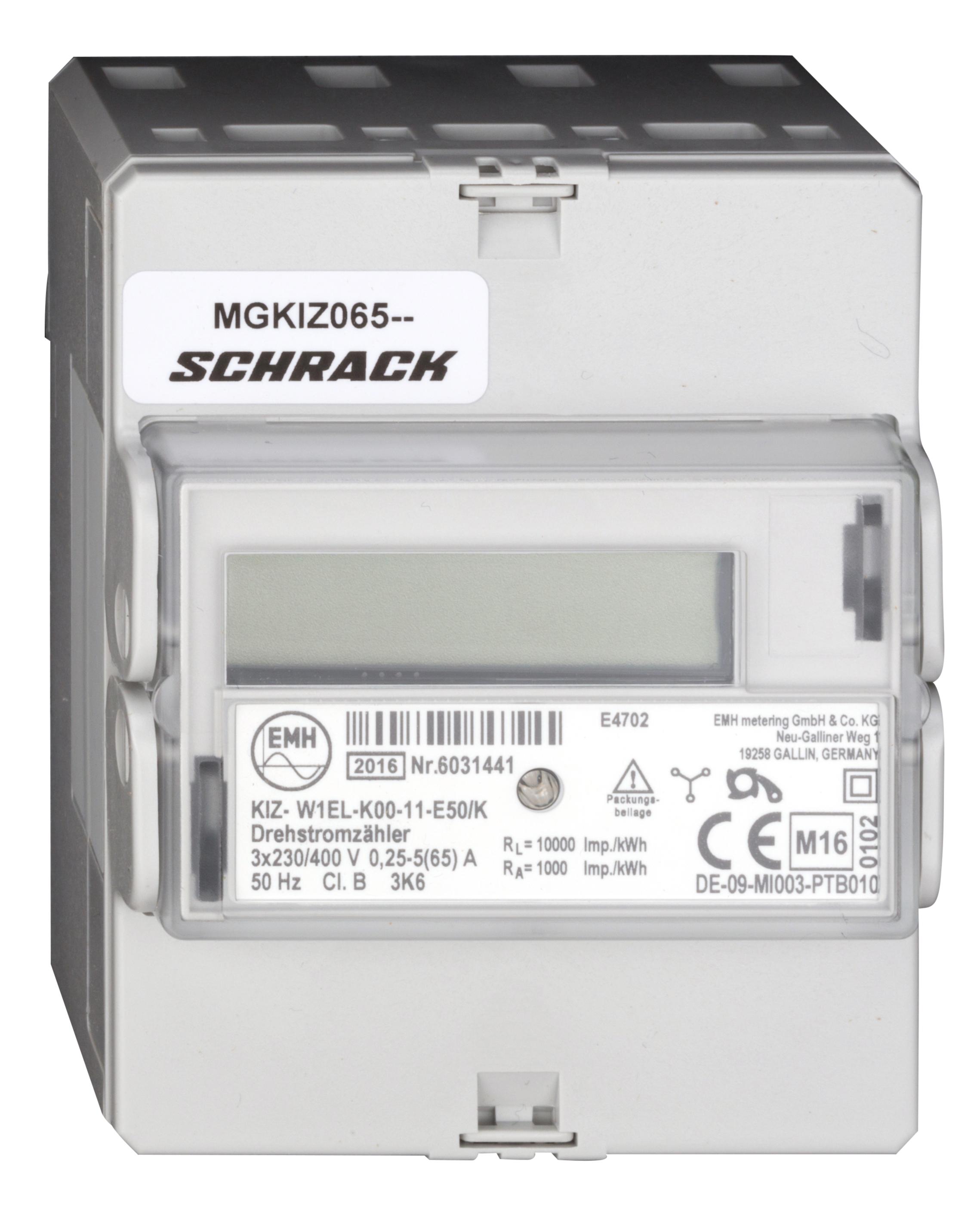 1 Stk Digitaler Drehstromzähler 65A, 2 Tarife, mit MID, 4TE MGKIZ065--