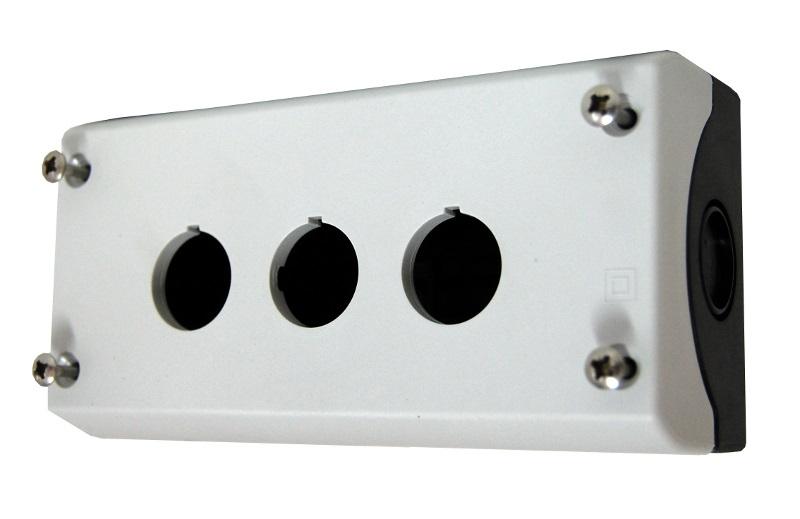 1 Stk AP-Gehäuse 3 Befehlsstellen schwarz/hellgrau MM216538--