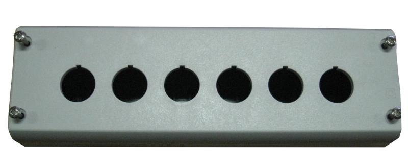 1 Stk AP-Gehäuse 6 Befehlsstellen schwarz/hellgrau MM216540--