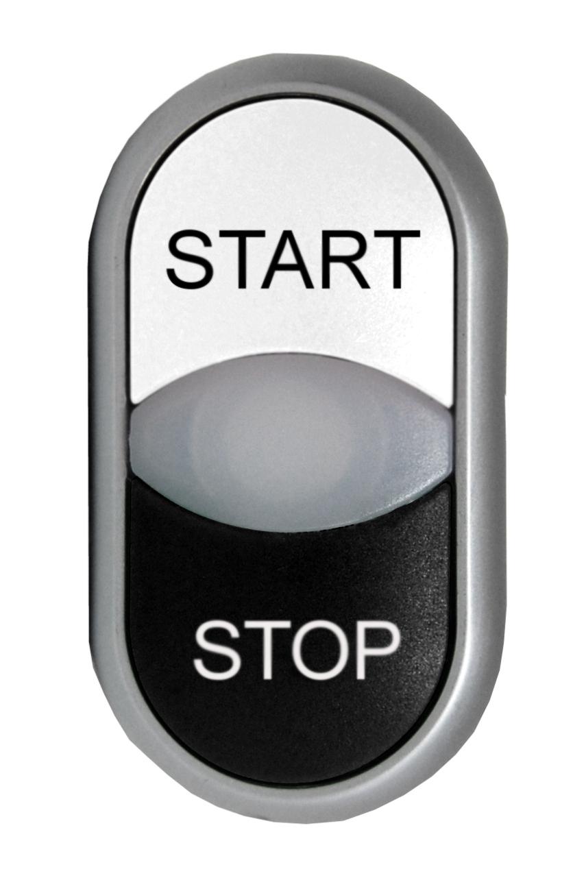 1 Stk Doppeldrucktaste tastend bel. weiss/schwarz Start/Stop MM216708--