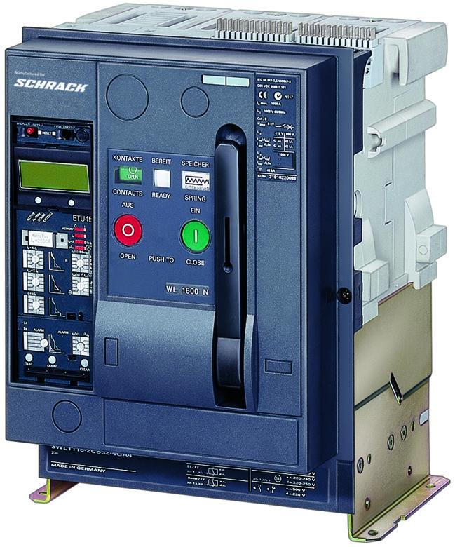 1 Stk Leistungsschalter, MO2, 3-polig, 1600A, 80kA, Festeinbau, RH MO216332--