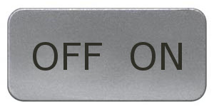 1 Stk Schild 17,5x28mm, Alu, aufschnappbar, OFF ON MSZS030317