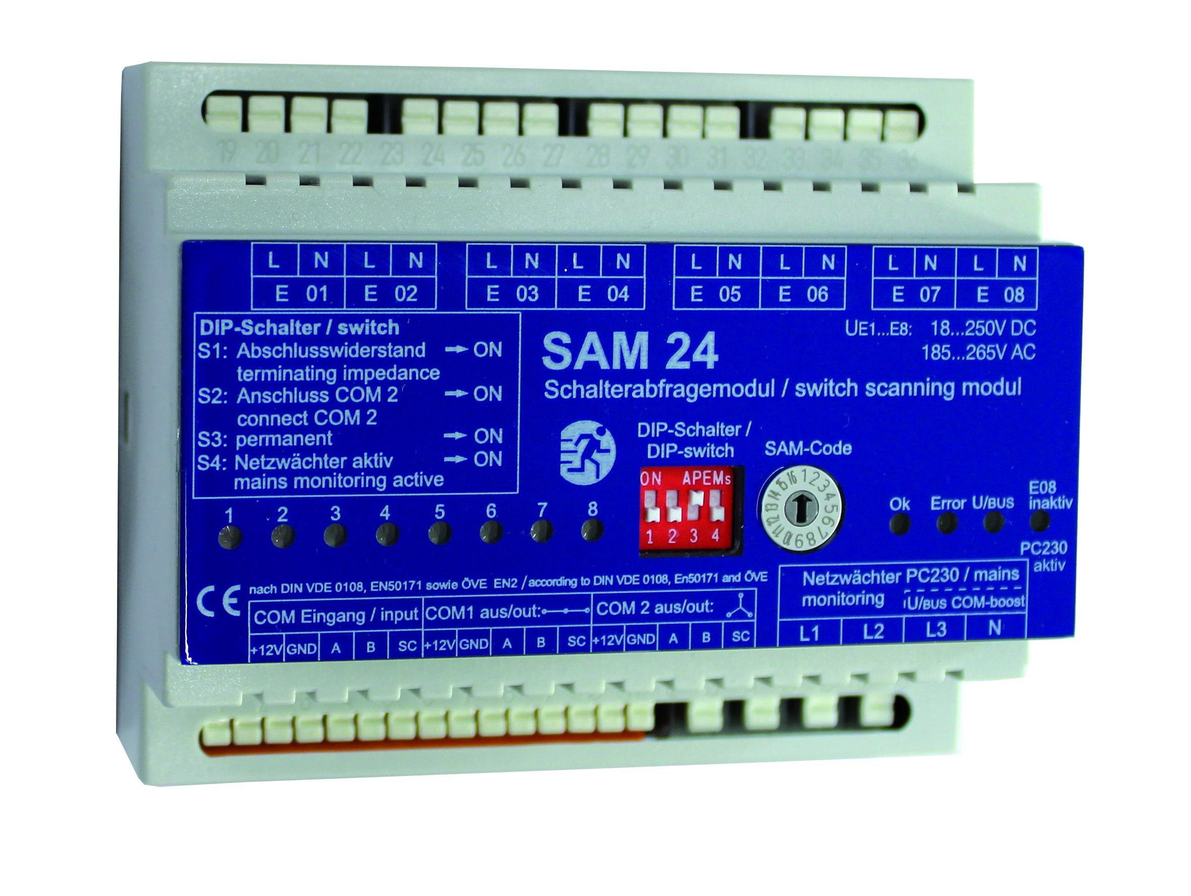 1 Stk Lichtschalterabfragemodul 8 Eingänge mit Netzwächter NLSAM24M--