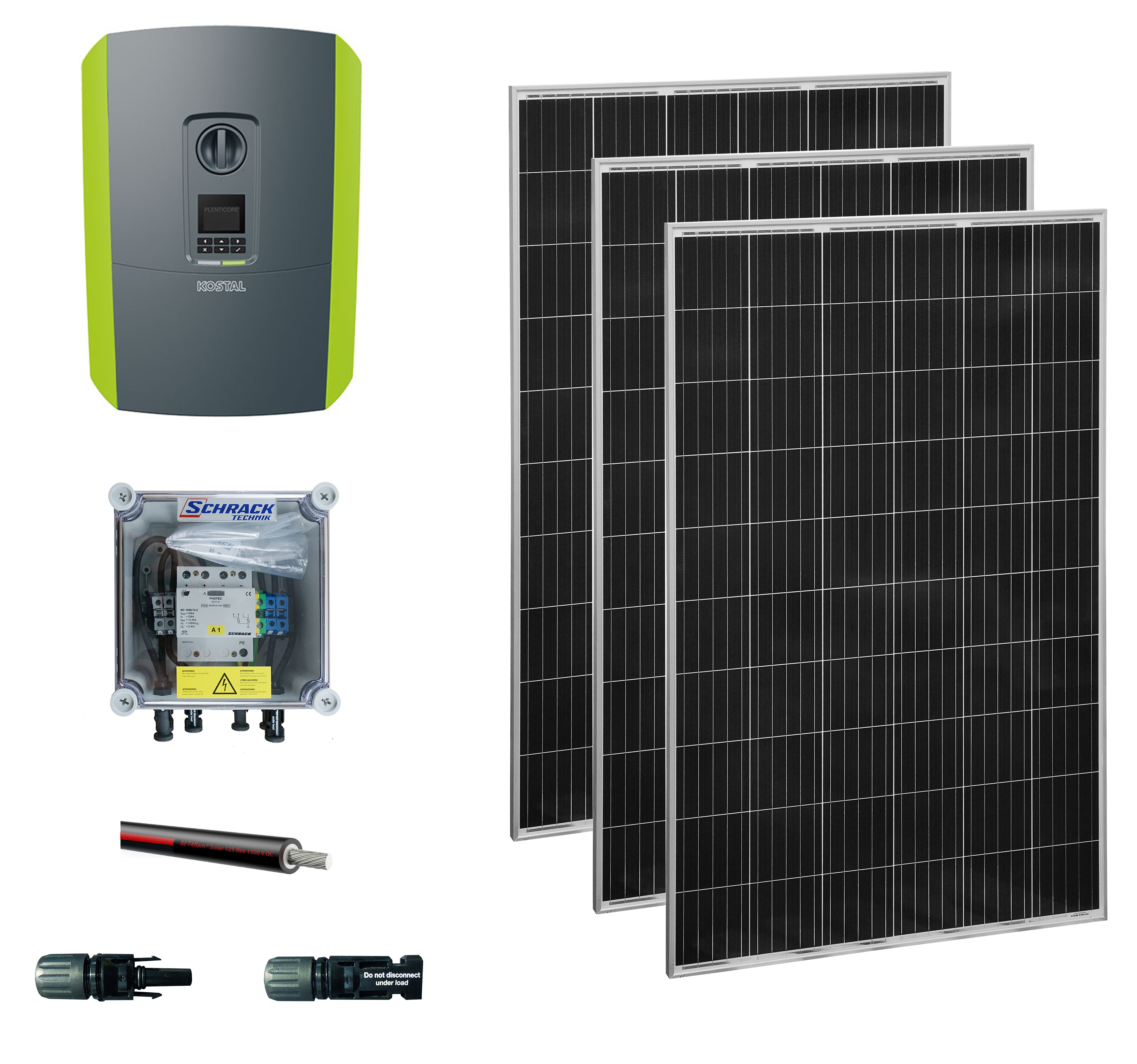 1 Stk PV-Aktionsset 5kW: 20Module,1 WR,ÜA,100m Kabel,MoSys Eternit PVS52035--