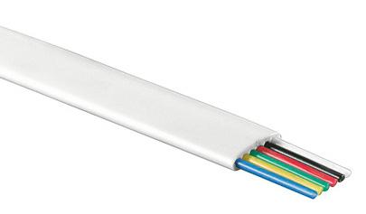 1 Stk Modularflachleitung 6polig weiß für Telefon-Patchkabel 100m Q7150669--