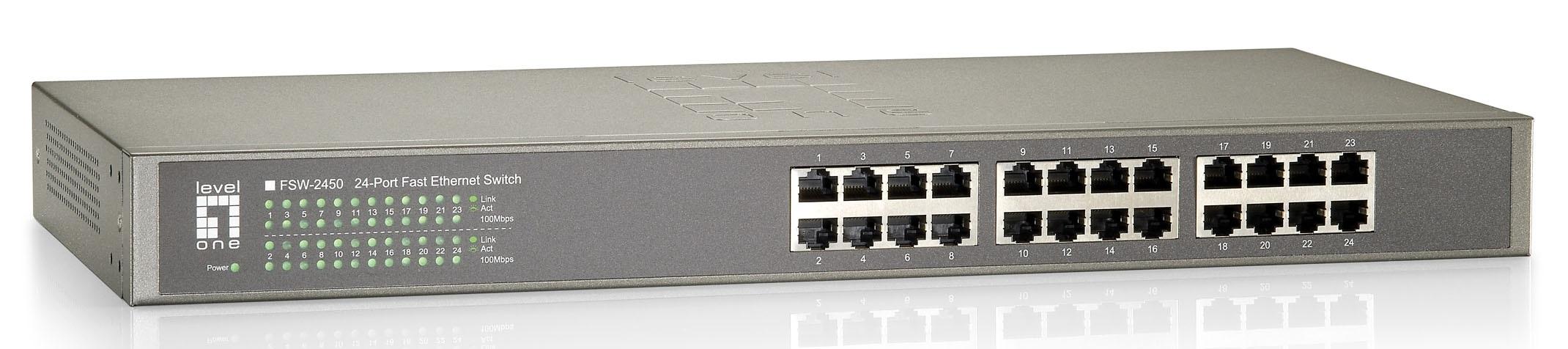 1 Stk Switch 24xRJ45 10/100 Leise, Lüfterlos, internes Netzteil QLFSW2450-