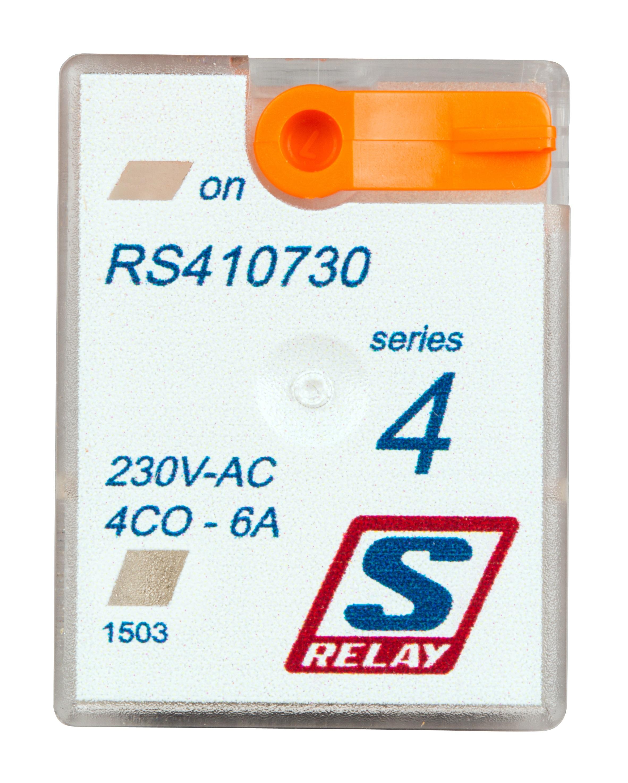 1 Stk Miniatur-Relais, 4 Wechsler, 6A, 230VAC, S-Relay Serie 4 RS410730--