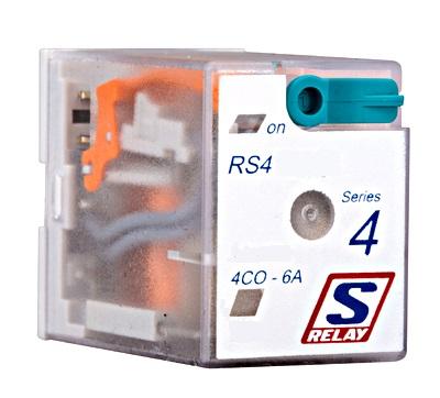 1 Stk Miniatur-Relais, 4 Wechsler, 6A, 24VDC, S-Relay RS4, LED+FD RS410LC4--