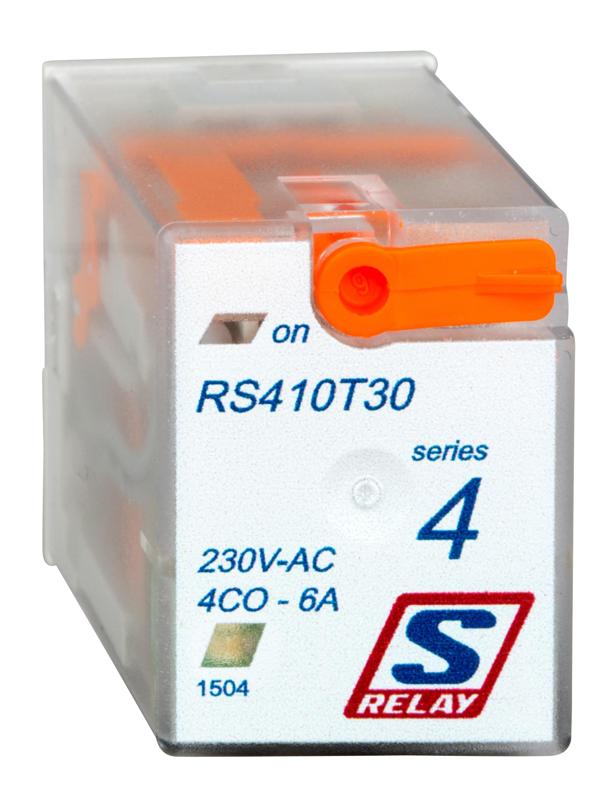 1 Stk Miniatur-Relais, 4 Wechsler, 6A, 230VAC, S-Relay RS4 mit LED RS410T30--