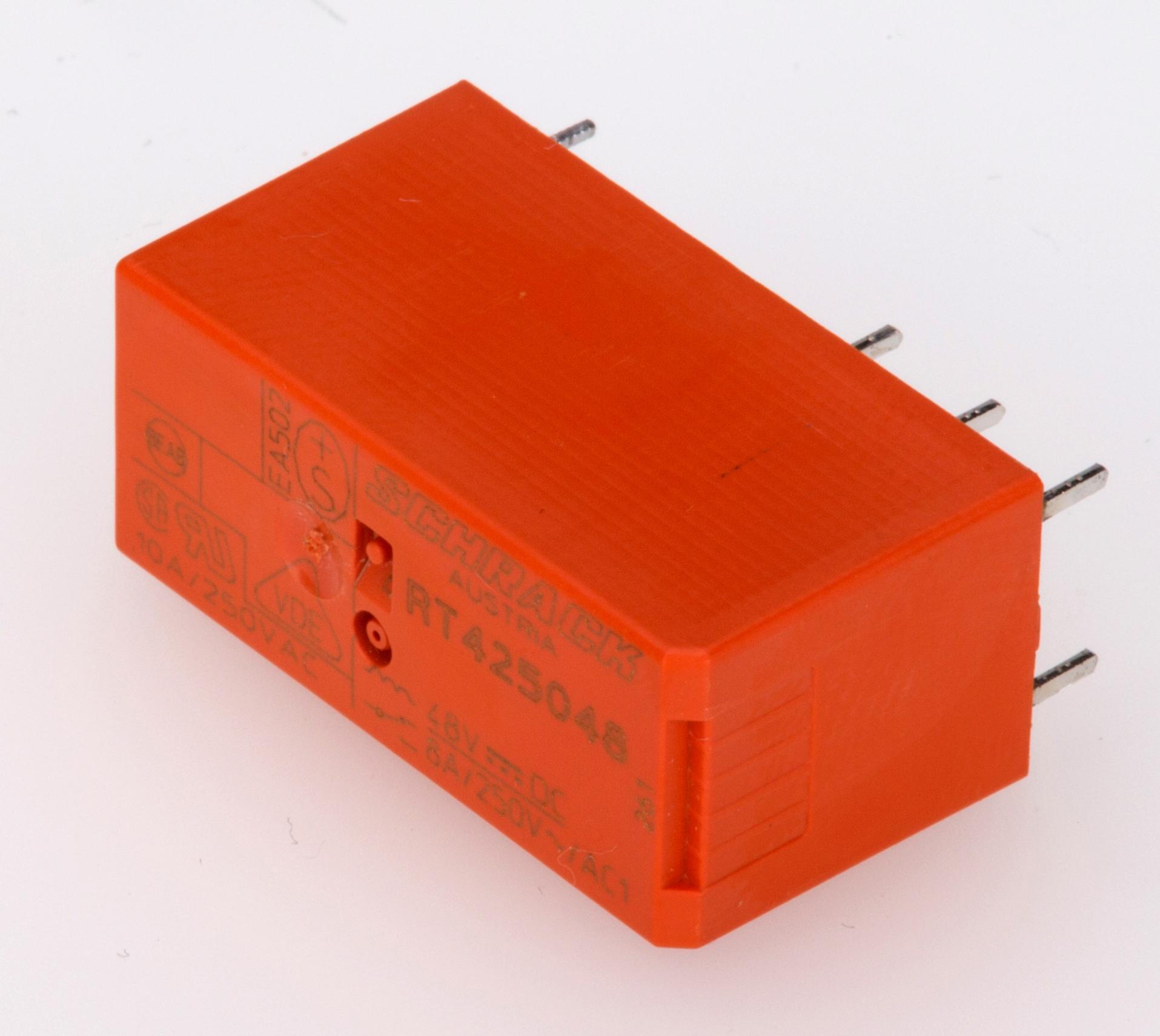 1 Stk Leistungs-Printrelais, 2 Wechsler, 8A, 48VDC, 5mm, htv RT425048--