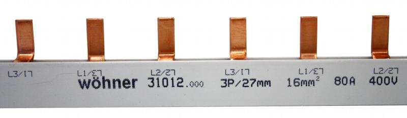 1 Stk Verschienung 3-polig, Stift, 16mm², 80 A, Teilung 27mm, 1m SI310120--