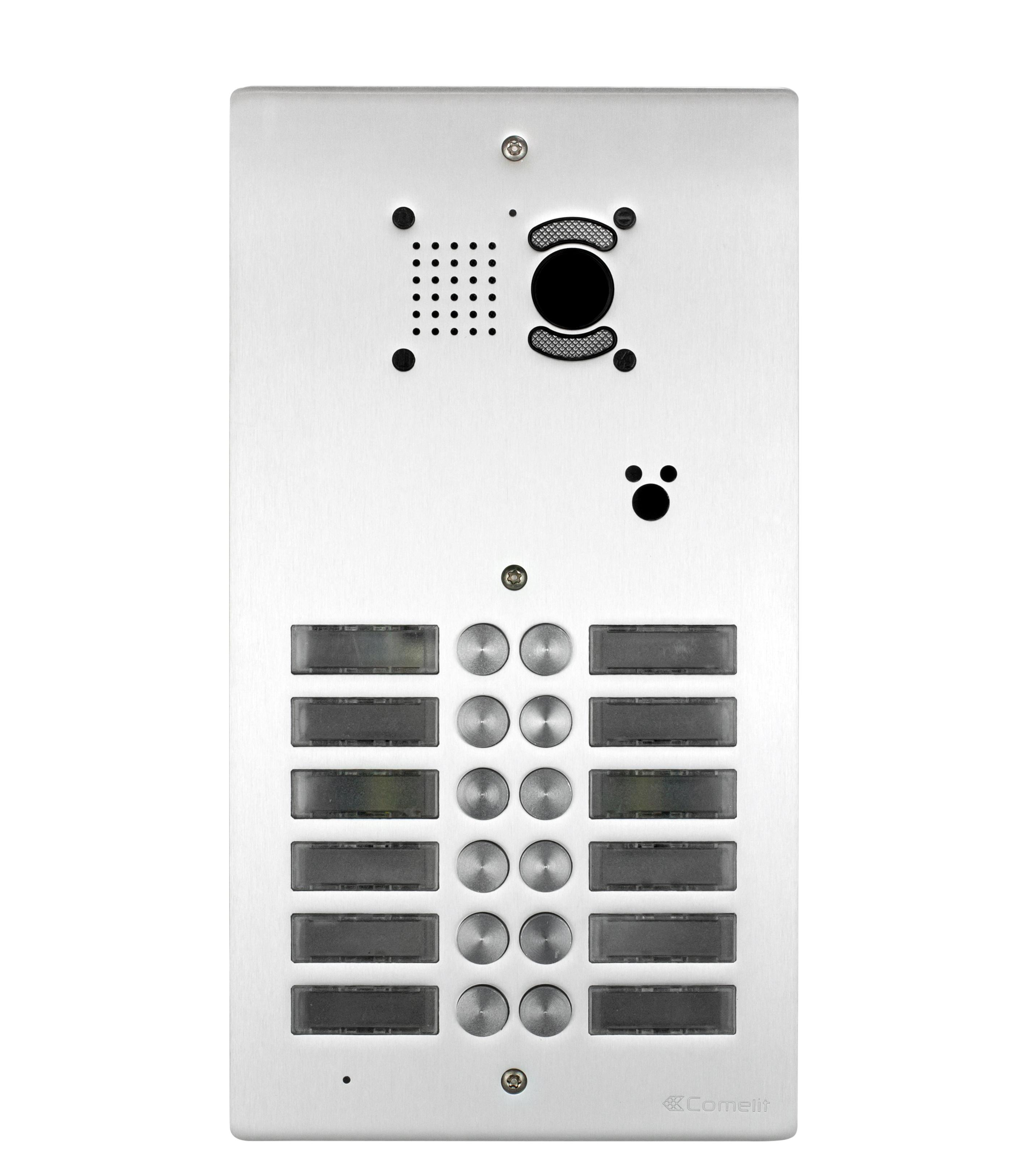 1 Stk AV-Panel Video, 12 Tasten, mit Postschloss-Ausschnitt, Alu SP3012NVPT