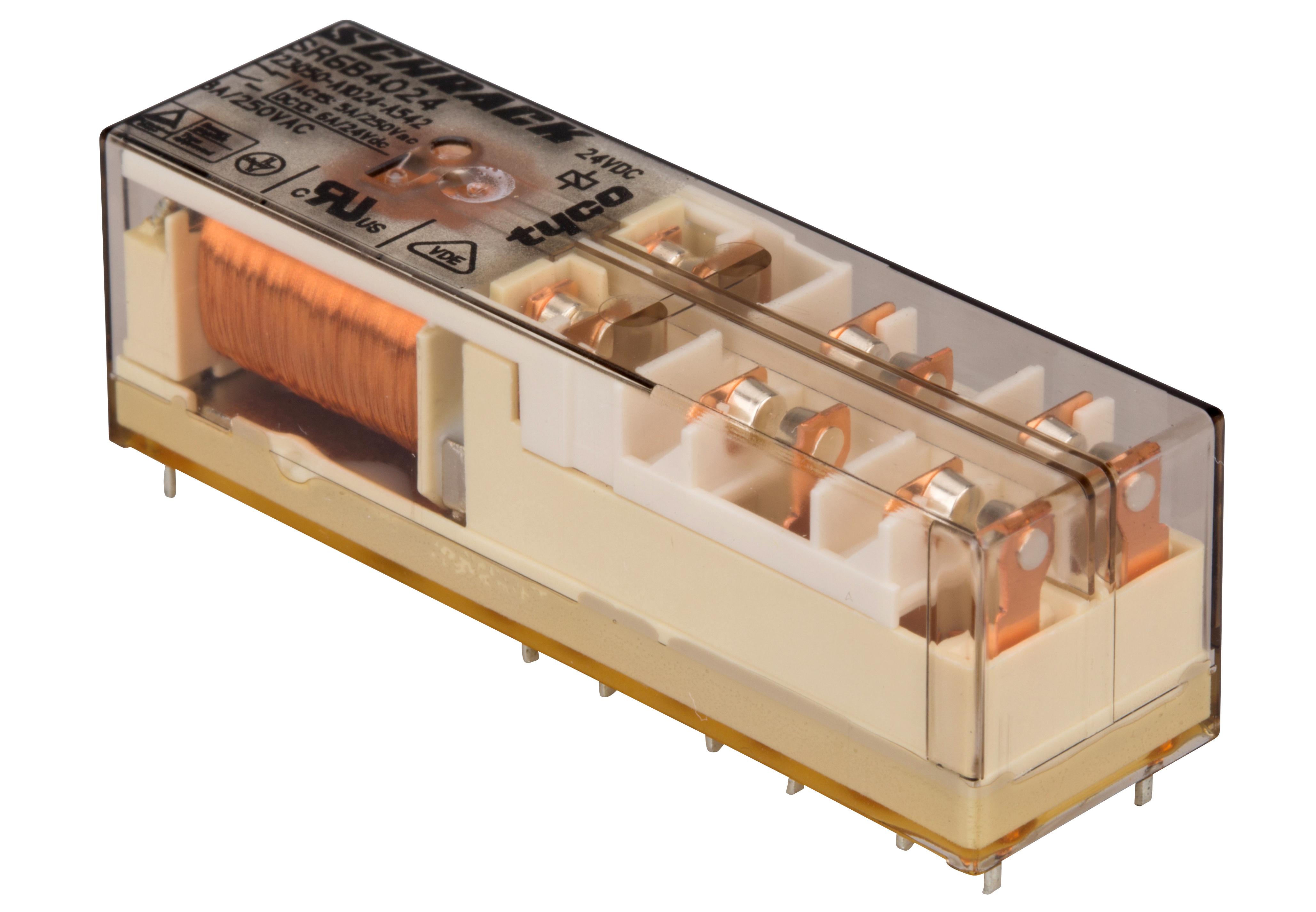 1 Stk Relais mit zwangsgeführten Kontakten, 4S+2Ö, 24VDC, 8A, 5mm SR6B4024--