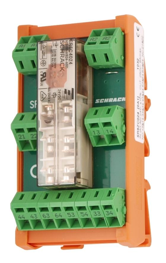 1 Stk Relais mit zwangsgeführten Kontakten, 4S+2Ö, 24VDC, 8A, DIN SR6ZB024--