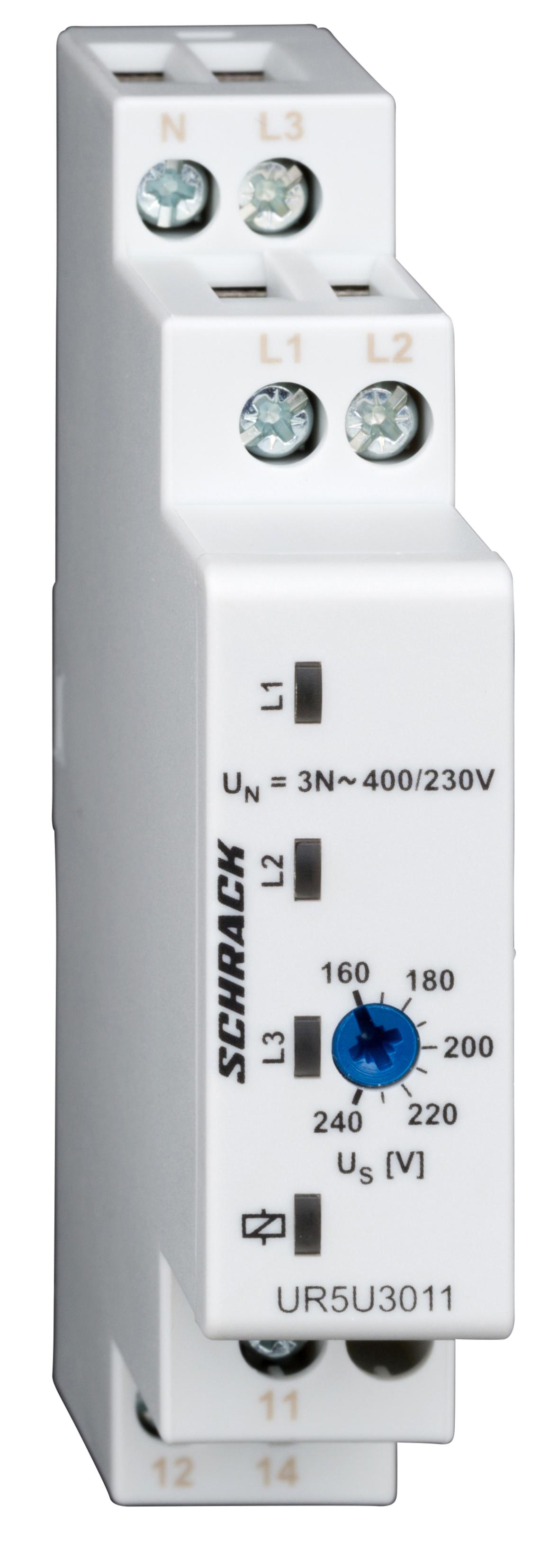 1 Stk Spannungsüberwachung 3-phasig gegen N, einstellbar 160-240V UR5U3011--