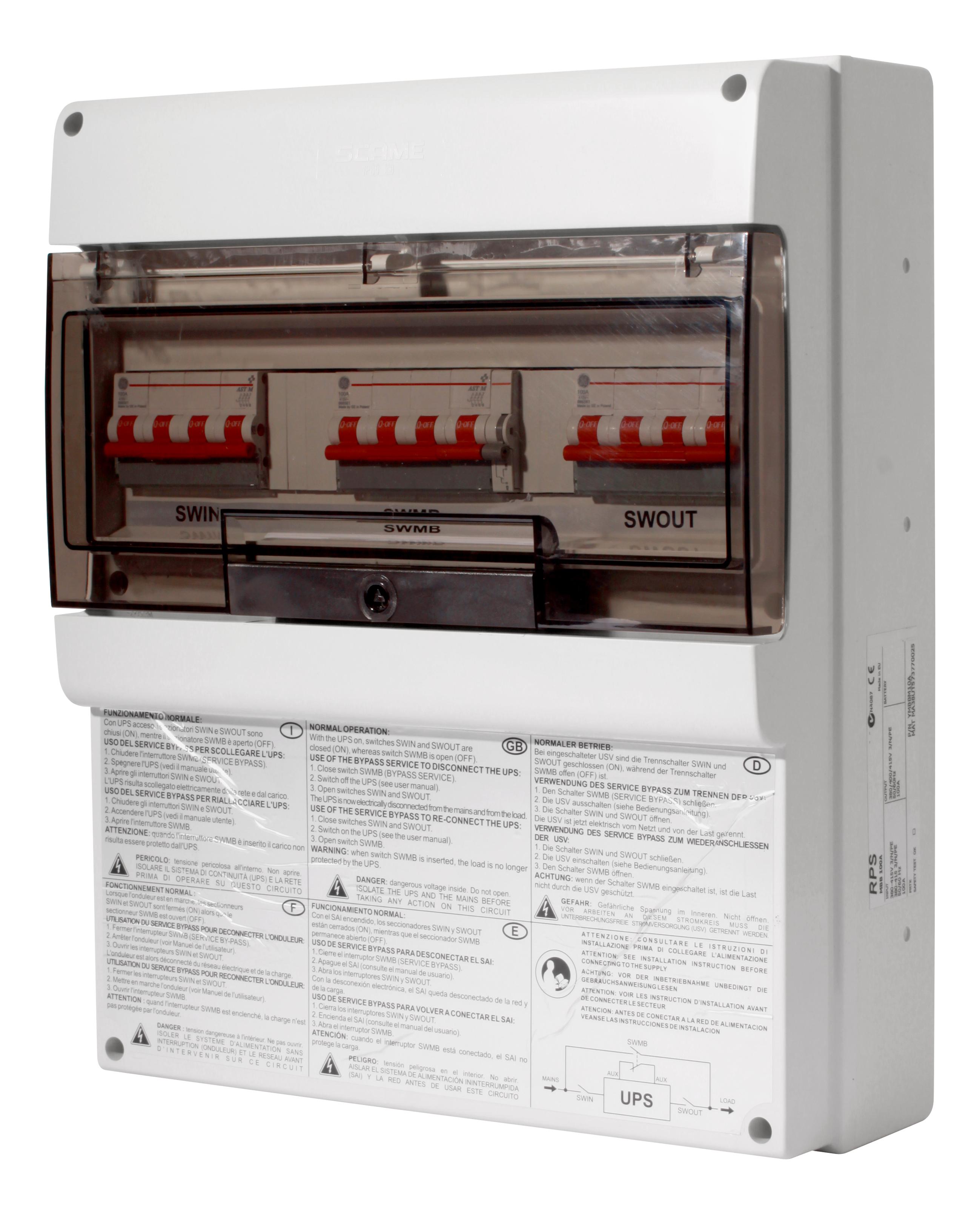 1 Stk Wartungsbypass einphasig max.100A (bis 20kVA einphasige USV) USMBB100--