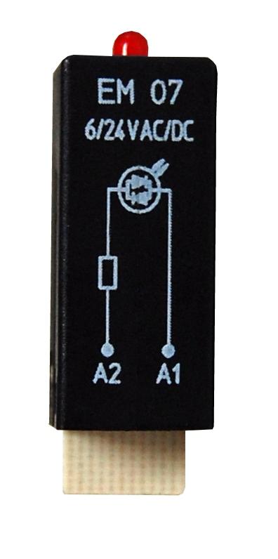 1 Stk LED-Steckmodul, rot, 6-24V AC/DC, EM07 YMLRA024--