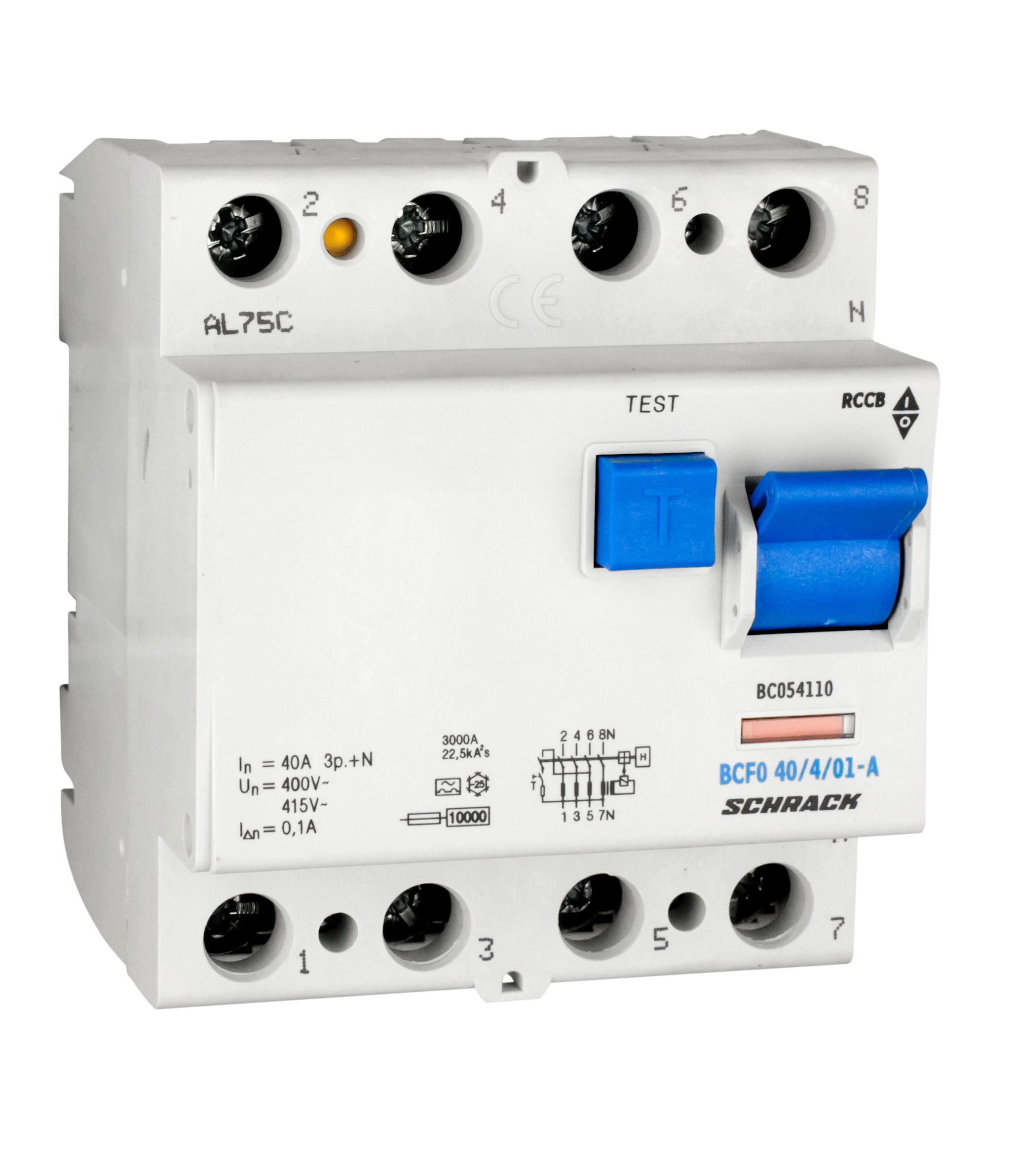 1 Stk FI-Schalter, 40A, 4-polig, 100mA, Typ A (Puls) BC054110--