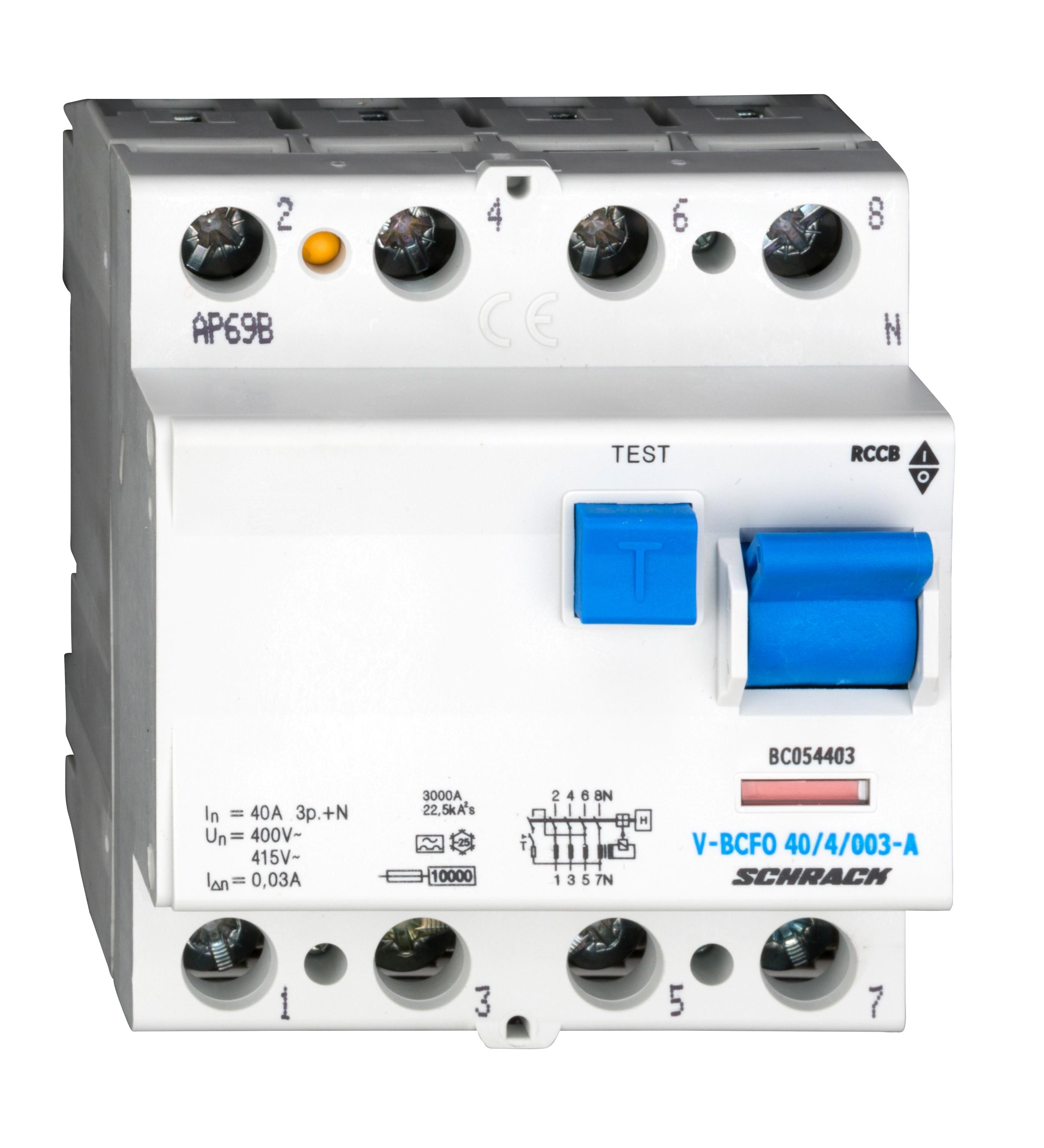 1 Stk FI-Schalter, 40A, 4-polig, 30mA, vsf., Typ A (Puls) BC054403--