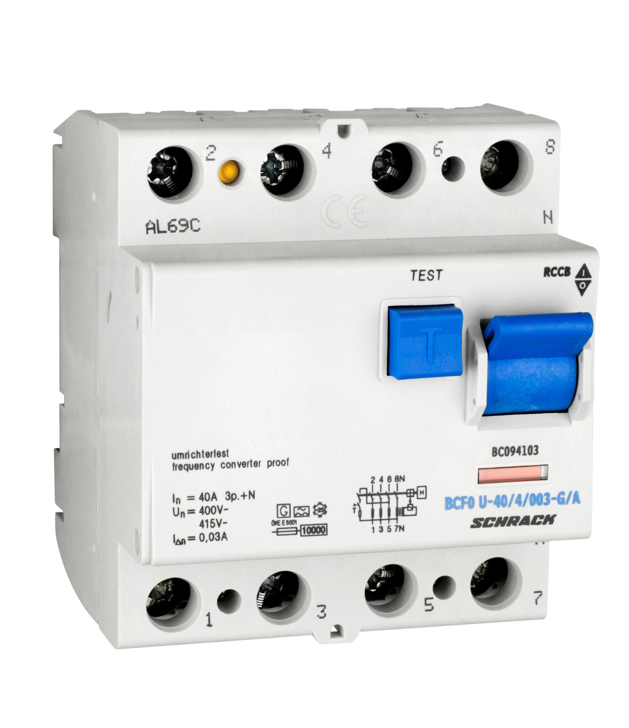 1 Stk FI-Schalter, FU fest, 40A, 4-polig, 30mA, Bauart G, Typ A BC094103--