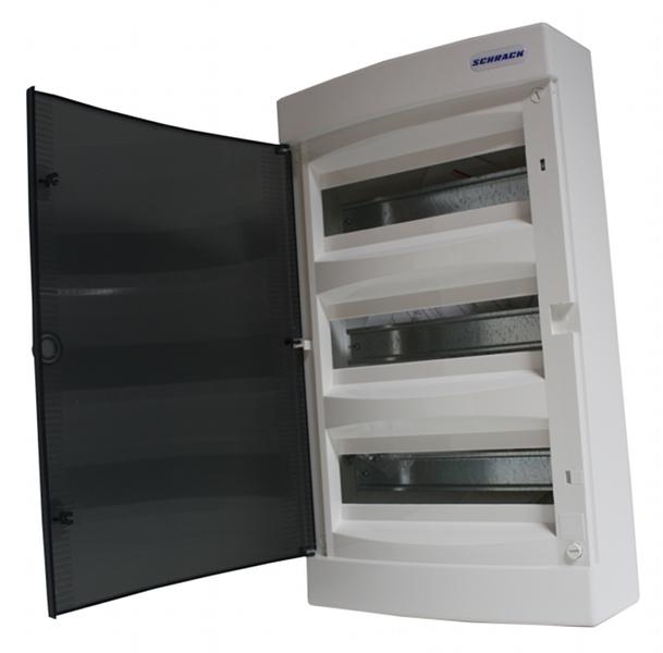 1 Stk AP-Wohnungsverteiler 3-reihig, 36TE, transparente Tür BK080103--