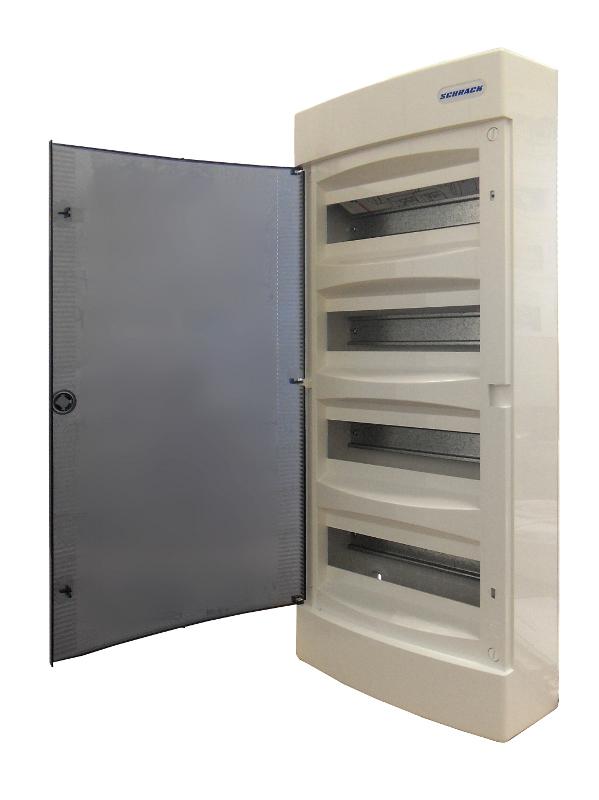 1 Stk AP-Wohnungsverteiler 4-reihig, 48TE, transparente Tür BK080105--