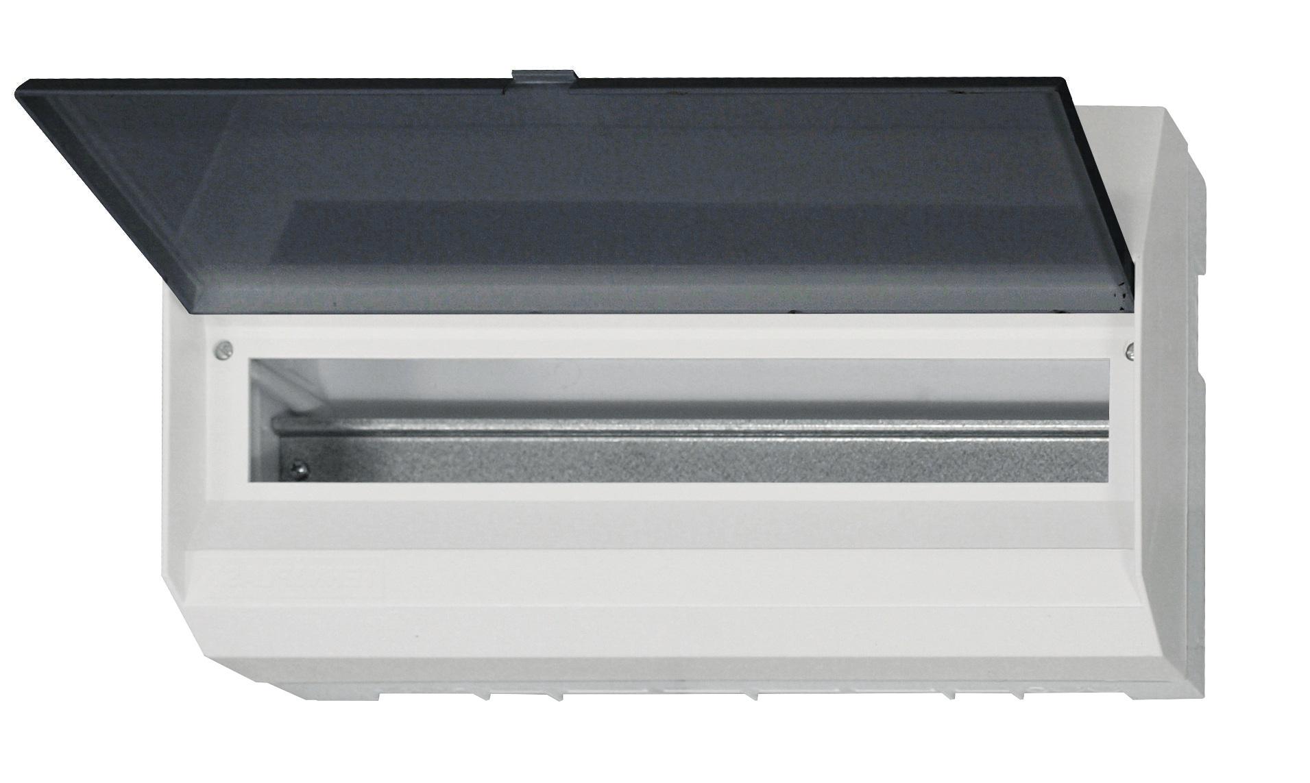 1 Stk AP-Wohnungsverteiler 1-reihig, 18TE, transparente Tür BK080121--
