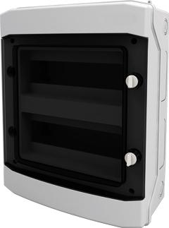 1 Stk AP-Wohnungsverteiler 2-reihig, 24TE, IP65, transparente Tür BK080203--