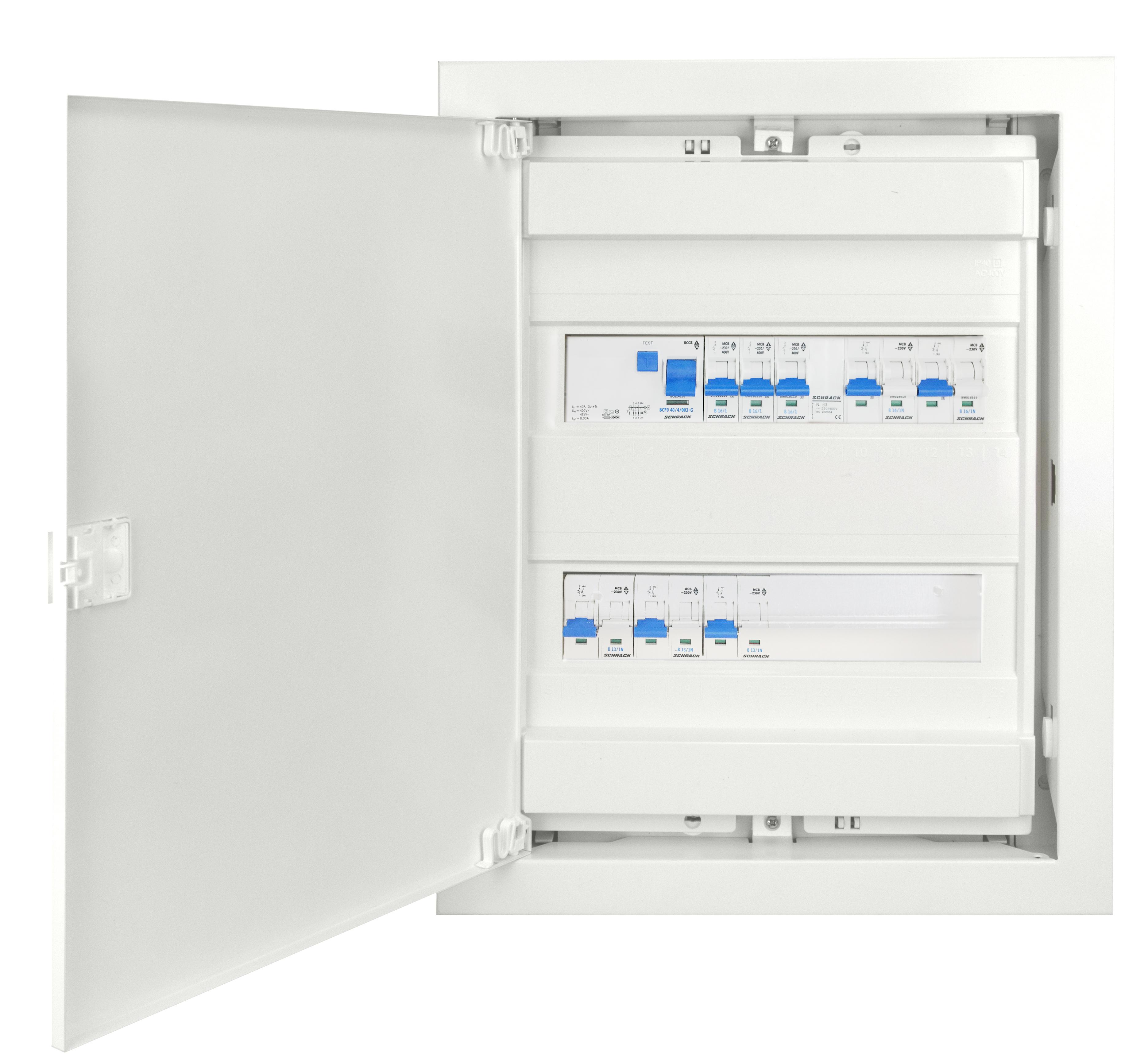 1 Stk UP-Wohnungsverteiler 2-reihig mit FI G, Typ AC BKUP400G--