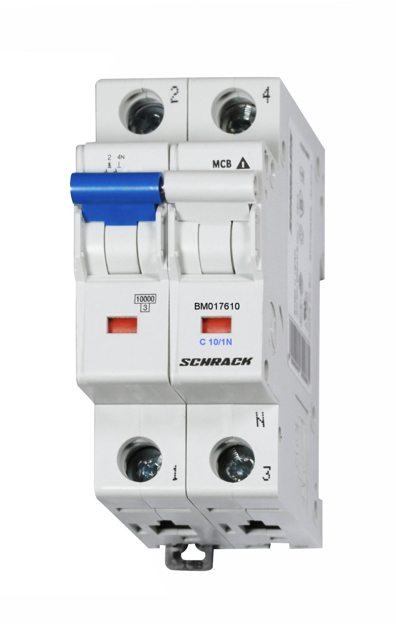 1 Stk Sicherungsautomat, Kennlinie C, 10A, 1-polig+N, 10kA BM017610--