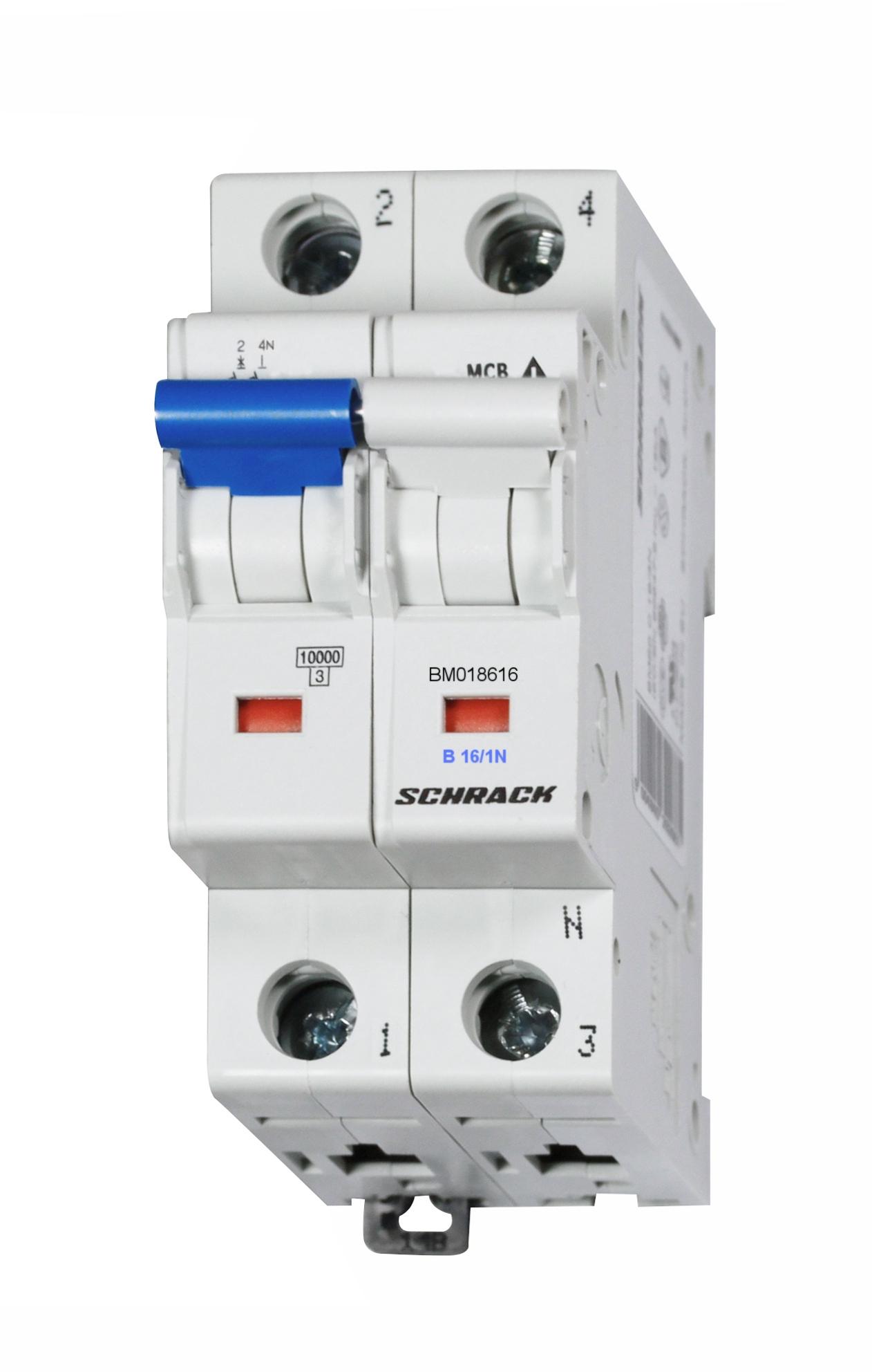 1 Stk Sicherungsautomat, Kennlinie B, 16A, 1-polig+N, 10kA BM018616--