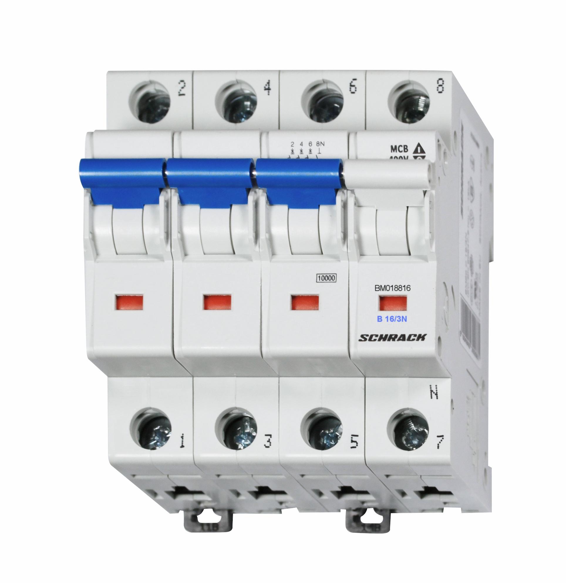 1 Stk Sicherungsautomat, Kennlinie B, 16A, 3-polig+N, 10kA BM018816--