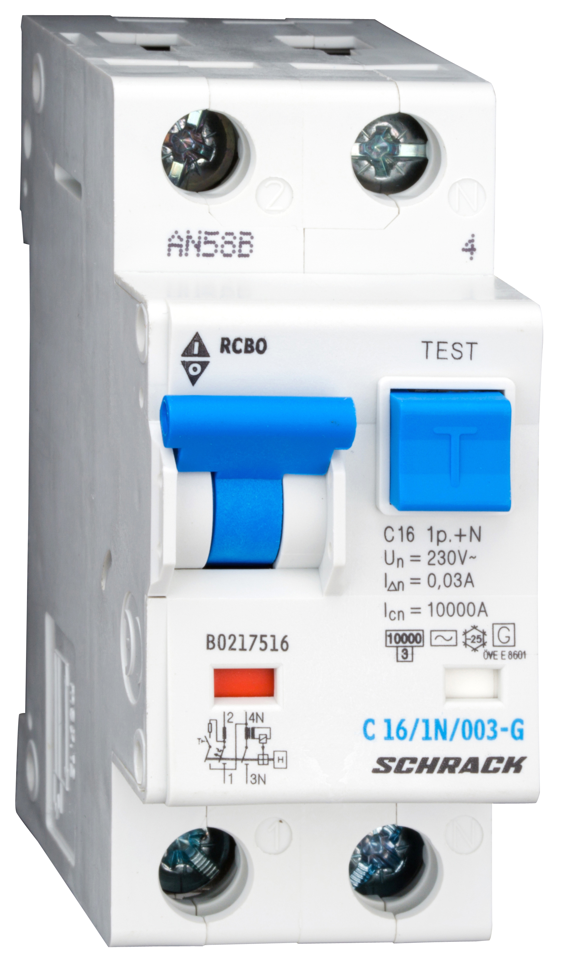 1 Stk LS-FI-Schalter,Kennl. C, 16A,30mA,1-polig+N, Bauart G,Typ AC BO217516--