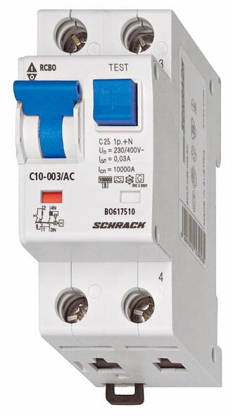 1 Stk LS-FI-Schalter, Kennlinie C, 10A, 30mA, 1-polig+N, Typ AC BO617510--