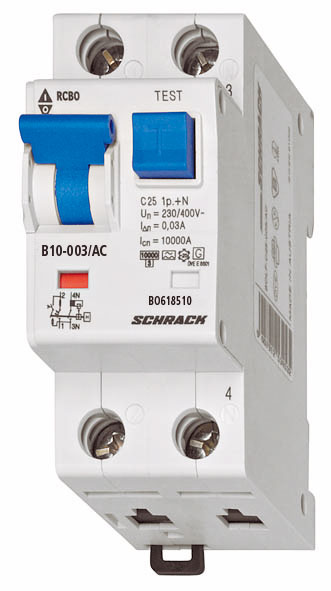 1 Stk LS-FI-Schalter, Kennlinie B, 10A, 30mA, 1-polig+N, Typ AC BO618510--