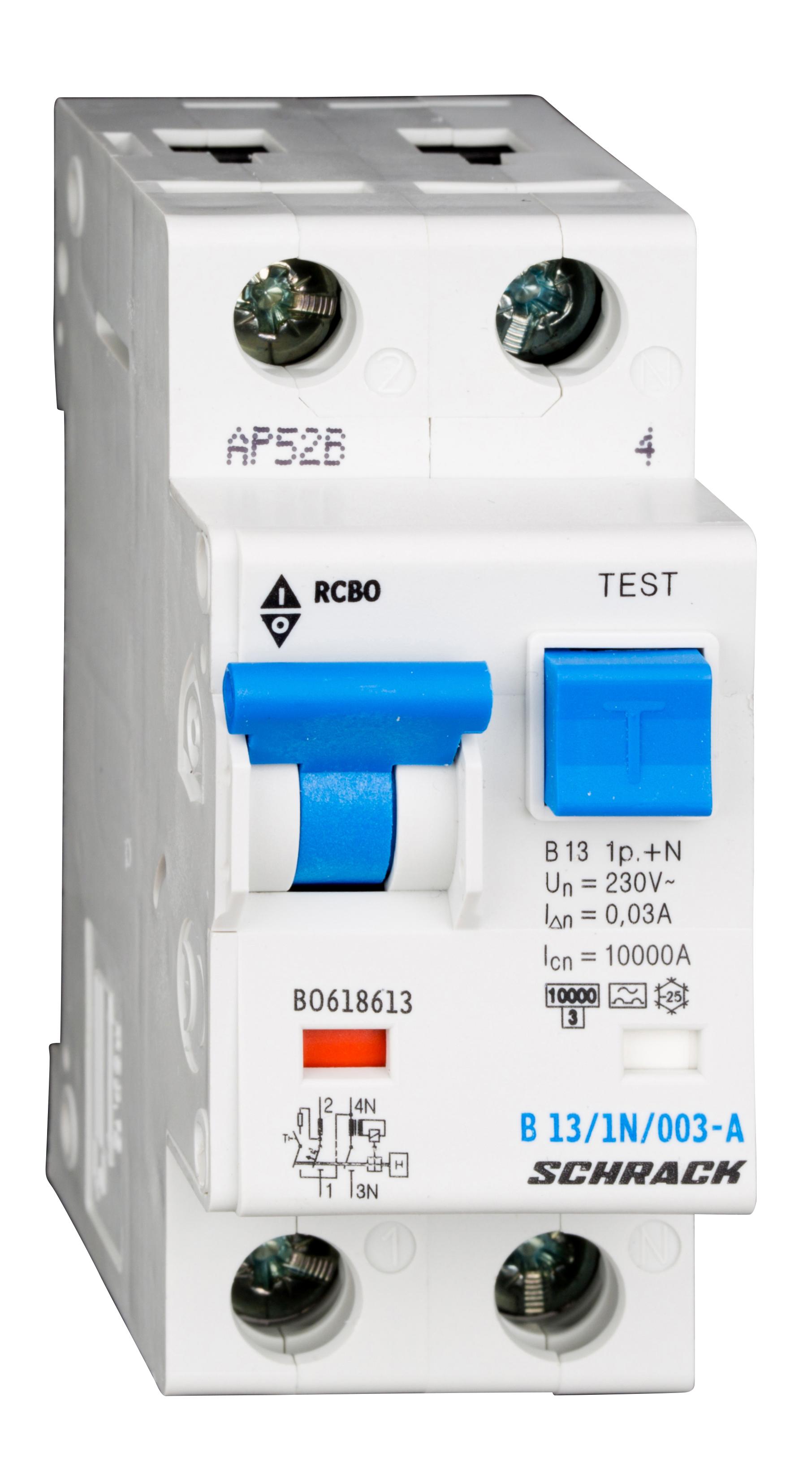 1 Stk LS-FI-Schalter, Kennlinie B, 13A, 30mA, 1-polig+N, Typ A BO618613--
