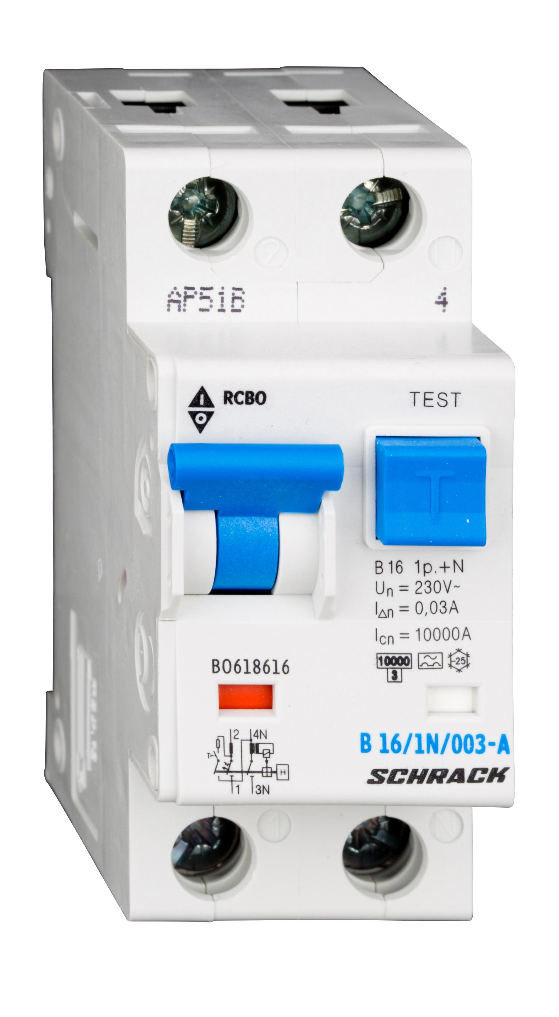 1 Stk LS-FI-Schalter, Kennlinie B, 16A, 30mA, 1-polig+N, Typ A BO618616--