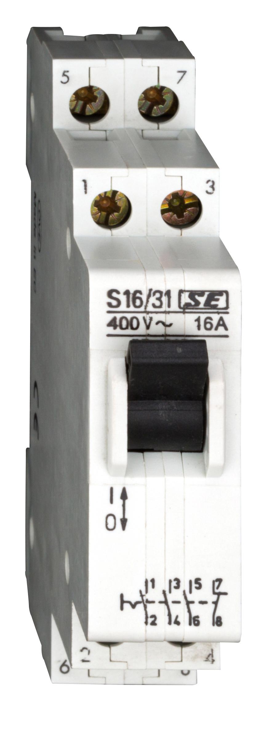 1 Stk Reiheneinbau-Steuerschalter, 3 Schließer, 1 Öffner, 16A BZ106731--